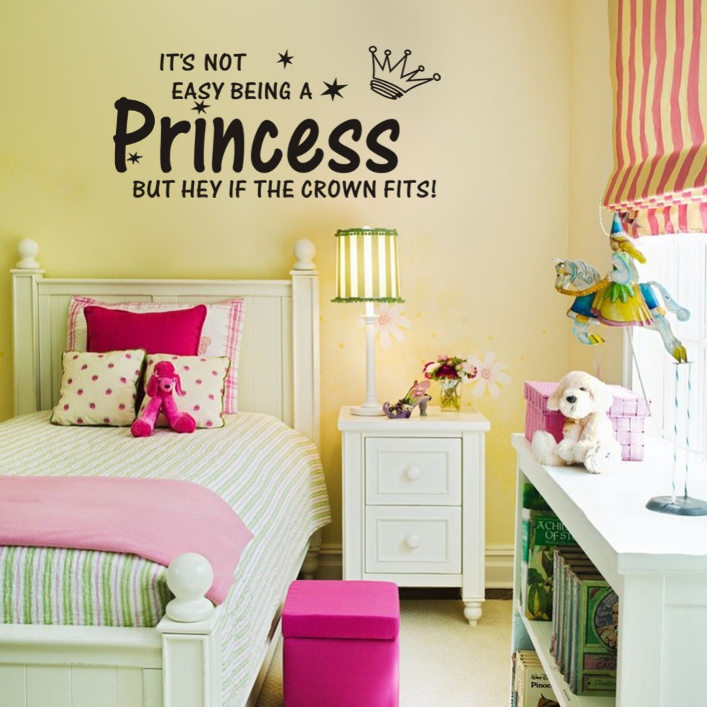 Cute princess crown quotes wall stickers for girl rooms ...