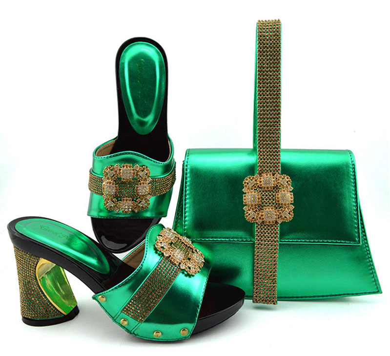 Bright nigeria green shoes matching bag set for african aso ebi party 3.5 inches shoes slippers and clutches bag set SB8362-4