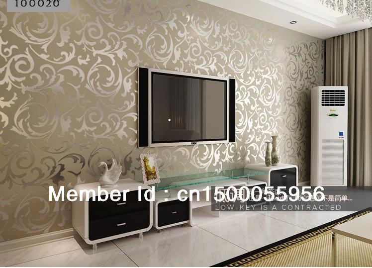 10 meter tv background silver wallpapera decoration living for Behangpapier living landelijk