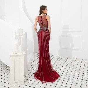 Image 2 - Suknie wieczorowe formalne 2020 suknie na bal maturalny wino czerwone/złote syrenka długa, bez rękawów Crystal Luxury Trail Ladies sukienek eleganckie