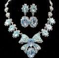 Encanto plateado rodio Rhinestone africana joyería nupcial Bijous promoción cristalino encantador de la mariposa joyería de la boda establece para mujeres