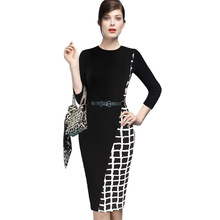 Womens Elegant Asymmetric Tartan Check Plaid Colorblock Contrast Patchwork Wear to Work Pencil Sheath Bodycon Dress LYQ111