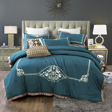 Luxury Green Pink Blue Gray European Royal Embroidery 100% Egyptian Cotton Bedding set Duvet cover Bed sheet/Linen Pillowcases