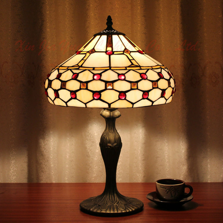 Tiffany Style Stained Glass Table Lamp Lustre Handmade Lampshade Christmas Decorations Home Desk Bedroom Light Fixtures - Broadway Lighting store
