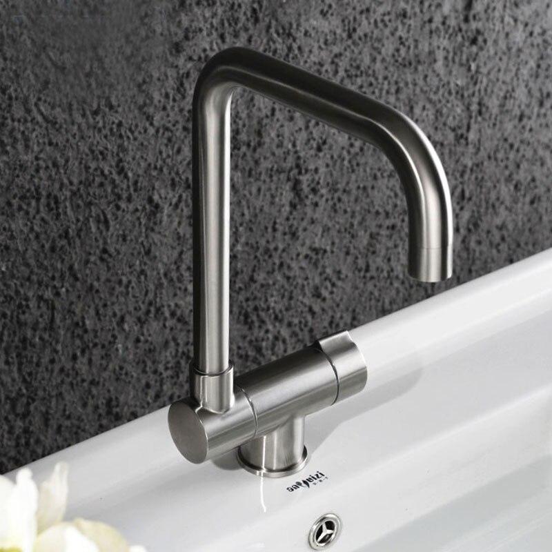 Edelstahl Küche Wasserhahn In Vor Nach Innen Öffnende Fenster Pinsel Poliert Becken Waschbecken Mischbatterie Swivel Auslauf Kalten Heißer wasserhähne