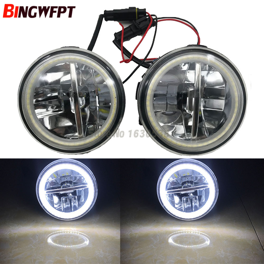 <font><b>2x</b></font> Angel Eyes Car Styling Round LED Fog Light For Nissan Qashqai (J11, J11_) Closed Off-Road Vehicle 2013- For X-Trail T31 image