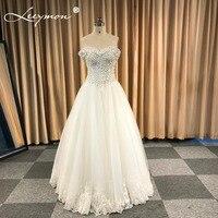 2018 barato listo venta fuera del hombro una línea Vestidos de novia en stock flores cristales vestido de novia robe de mariee listo barco