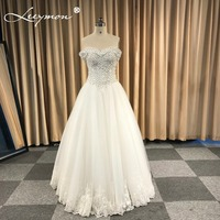 2018 Cheap Ready Sell Off Shoulder A Line Wedding Dresses In Stock Flowers Crystals Bride Dress robe de mariee Ready Ship