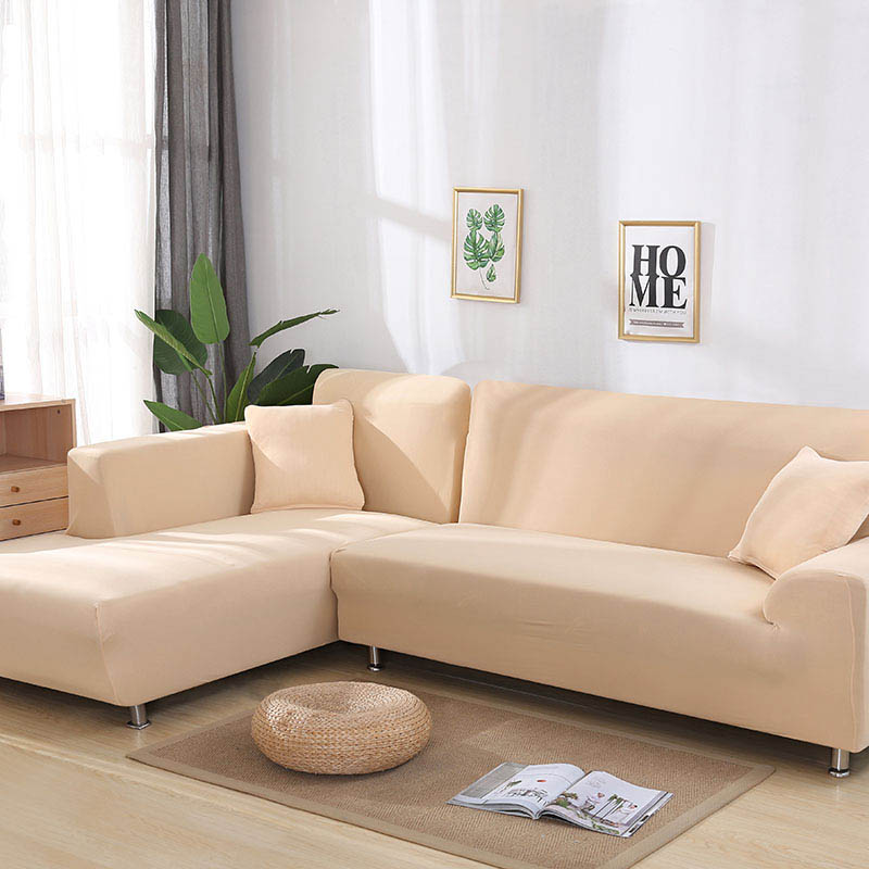 Grey /Solid Color 1 Piece/ 2 Pieces Sofa Cover for L Shaped Sectional Sofa  Corner Towel Couch Cover for Furniture Armchairs