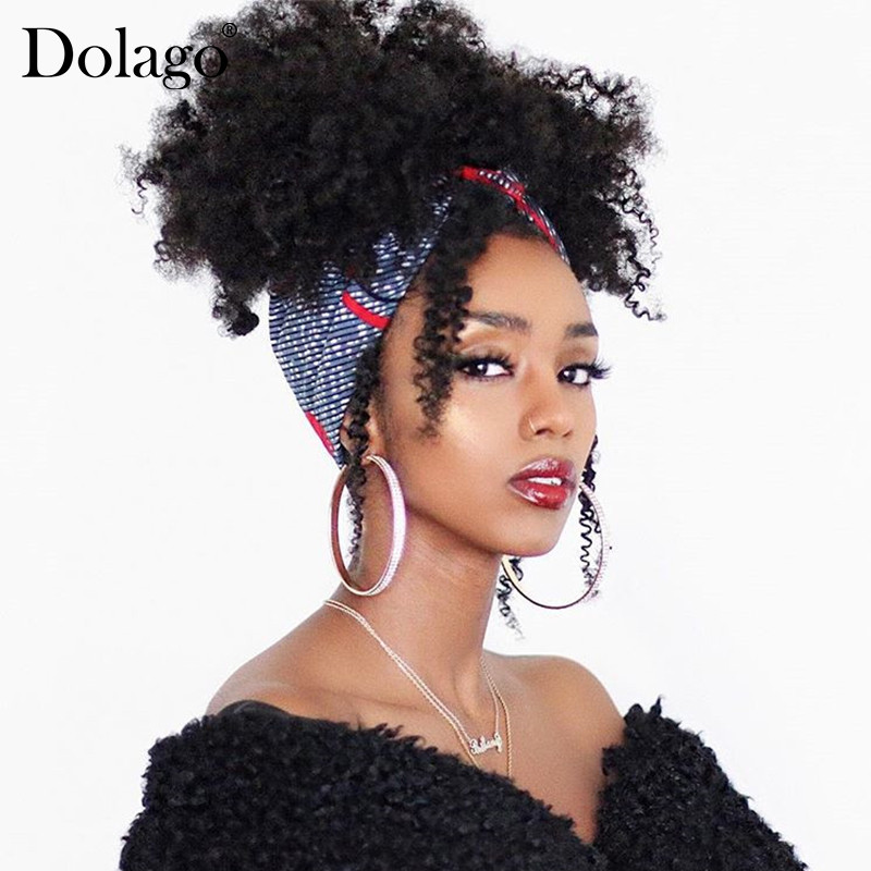 Natural Black Ponytail For Women 1 Piece Afro Kinky Curly Ponytails Clip In 100% Human Hair Dolago Hair Products Remy image