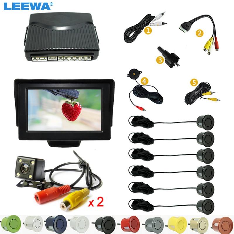 LEEWA Car 4.3 LCD Monitor 6-Sensor Radar 2pcs 4-LED CCD Camera Dual Visual Rearview Video Parking Sensor System  #CA1013