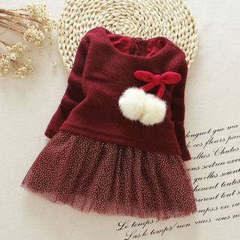 Hot Newborn Baby Girls Dress  Christmas Kids Baby Girls Dress Long Sleeve Knitted Bow Tutu Dress Party Dresses одежда на маленьких мальчиков