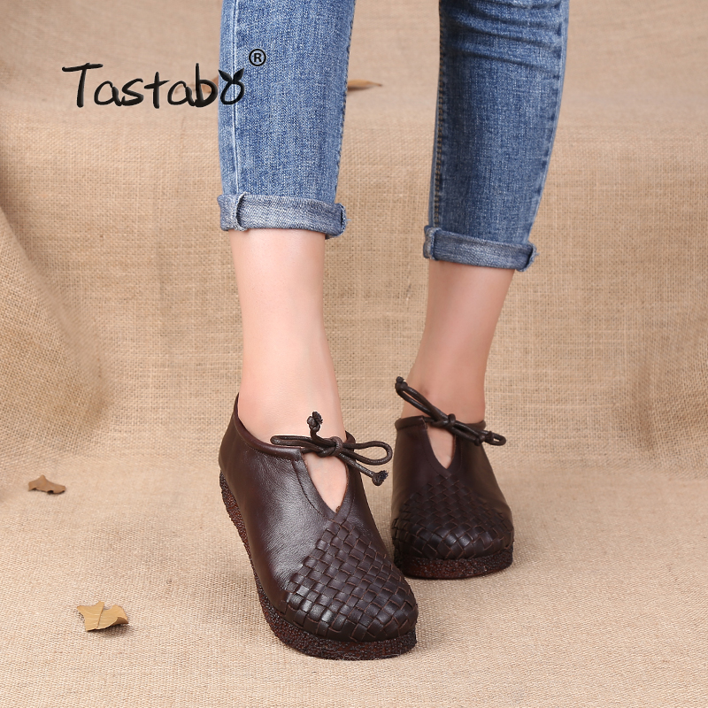 Tastabo النساء حذاء مسطح الدانتيل يصل الأخفاف الأم لينة جلد طبيعي السيدات أحذية اليدوية الشقق الأسود عارضة النساء أحذية-في أحذية نسائية مسطحة من أحذية على  مجموعة 1