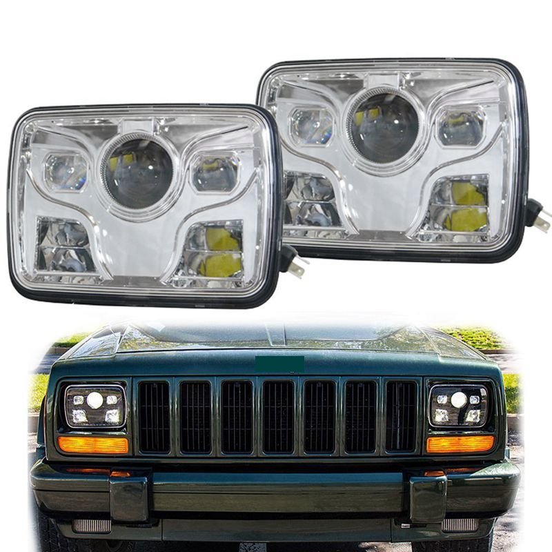 "5""x7"" Square LED Headlights Projector with High/Low Beam DRL Driving Lamp For Truck Jeep Offroad Car"