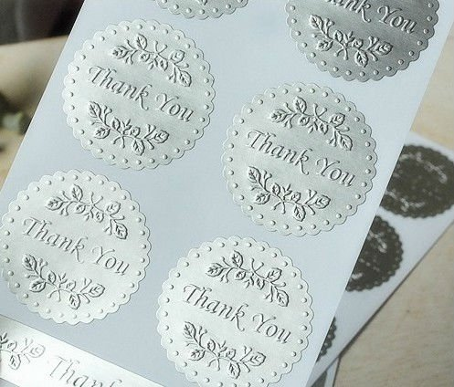 Wedding silver round embossed wedding invitation envelope seals sticker thank you 6pcs sheet