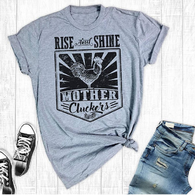 539efef2d Hillbilly Funny Chicken Printed Women t shirt Grey Loose Design Plus Size  Tops Short Sleeve Rise And Shine Mother T shirt Vogue
