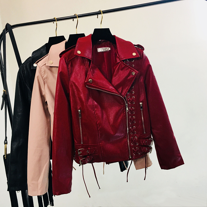 Red Leather Jacket Women's Short Motorcycle Slim Strap PU Leather Jacket Spring Autumn Ladies Lapel Hoadsome Pink Leather Coat