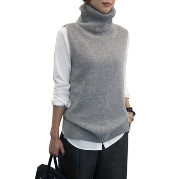 FRSEUCAG Best selling new women's knitted high-neck vest loose comfortable cashmere sweater sleeveless sweater women's pullover 2