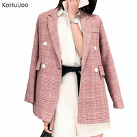 KoHuiJoo 2019 Spring Autumn Pink Vintage Plaid Blazer Jacket Women Double Breasted Long Sleeve style ladies Elegant Coat