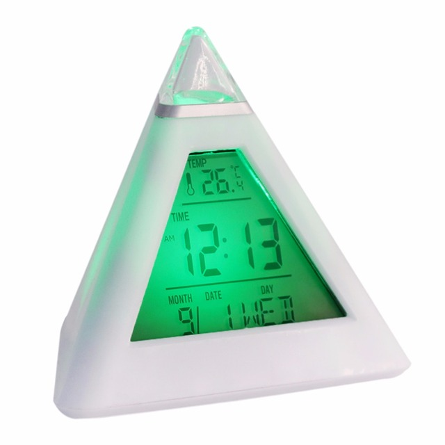 Fahrenheit 7 LED Change Colors Snooze Alarm Clock Time Data Week Temperature Thermometer C/f Hour Home Pyramid LCD Digital