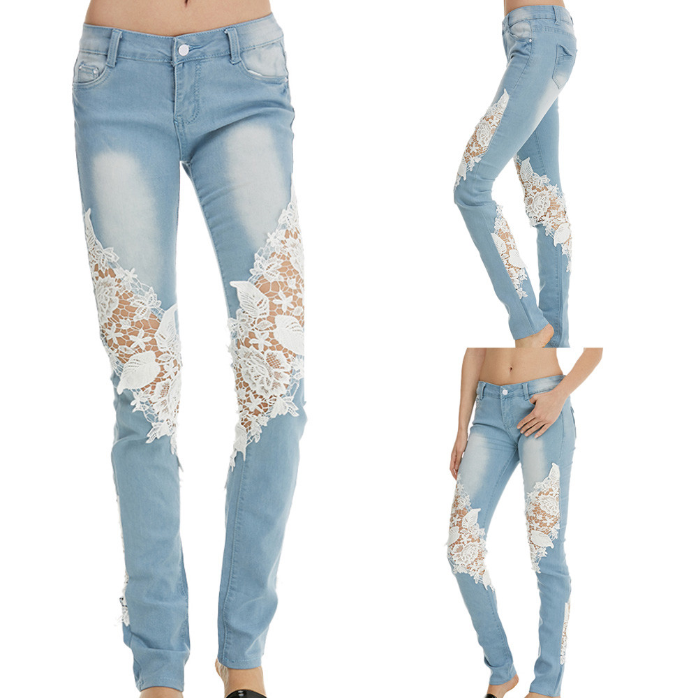 S-2XL NEW light blue female trousers Women Pencil Denim   Jeans   Printing Lace Skinny Stretch Slim Fitness Pants   jeans   #10