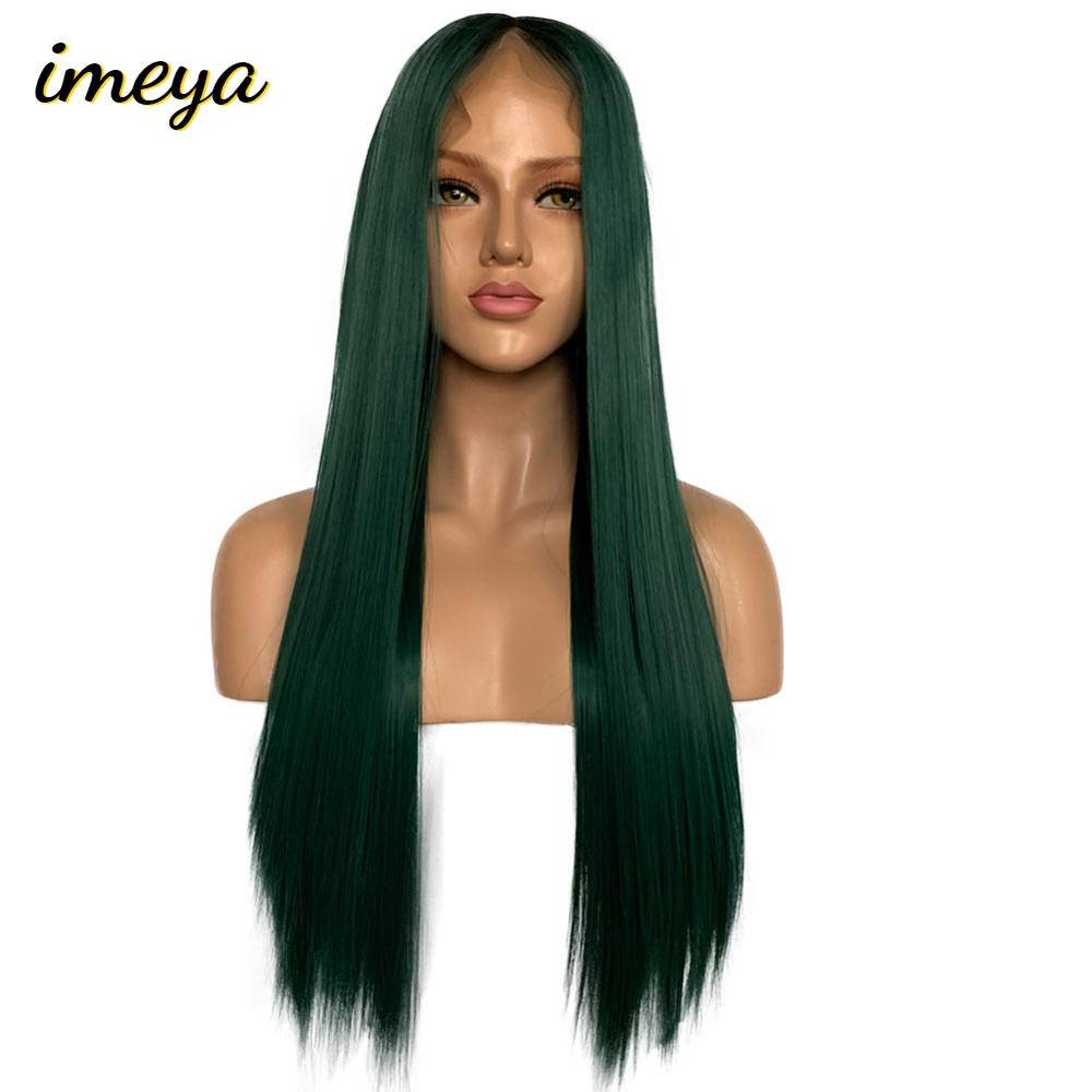Imeya Glueless Lace Front Wig Ombre Wig 13x6 Synthetic Lace Front Wig Straight Hair Lace Wigs For Black Women