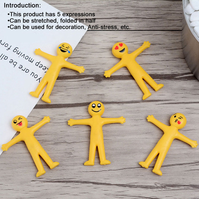 5Pcs/Lot Smile Expressions Little Dolls TPR Yellow Anti-stress Toys Foldable And Stretchable Toy Office Desk Decoration Gift