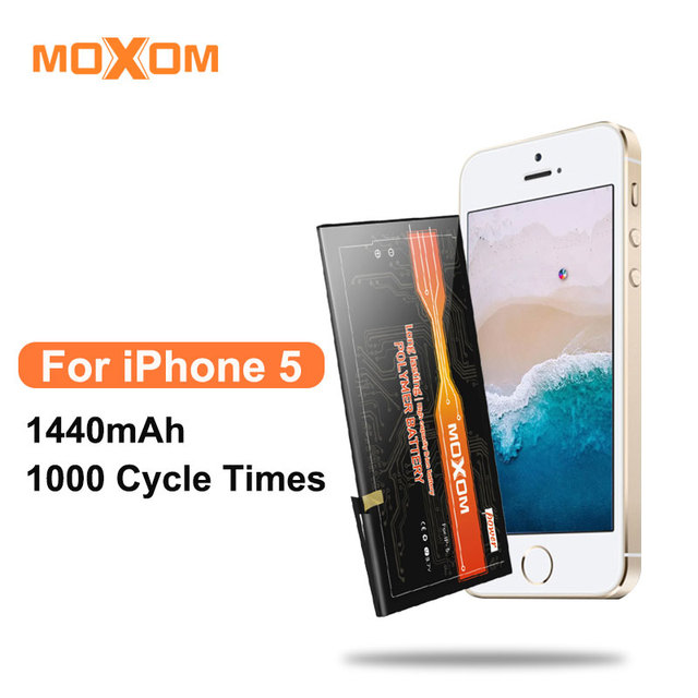 4f7b92d956a28a MOXOM Mobile Phone Battery For iPhone 5 With High Capacity 1440 mAh Replacement  Battery Li-