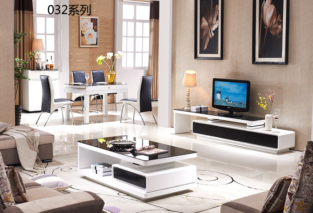 CJTV032 Minimalist Modern living room piano paint furniture Flexible TV stand cabinet coffee tea table furniture set