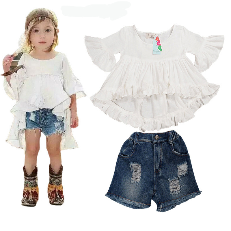 d5f93b4357e1a Fashion Girls Clothes Children Set for Girls Summer INS White Girls Blouse  and Denim Shorts Girl Clothing Set Kids Set Suit
