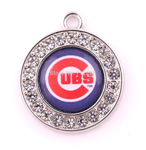 New Arrival DIY Jewelry 20pcs a lot clear crystal Chicago Cubs Finals Best team logo sport football charm For Fans