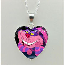 HT–00527 New Steampunk Pink Cat Heart Necklace Alice in wonderland Heart Jewelry Silver Heart Necklace
