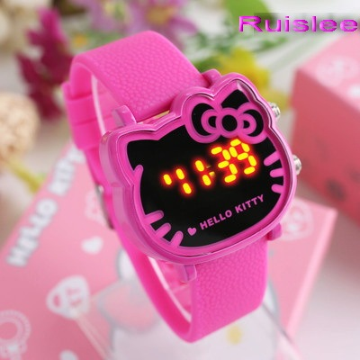 Top Quality 4 Colors Cute Hello Kitty Watch For Kids Women Fashion Casual Led Wr