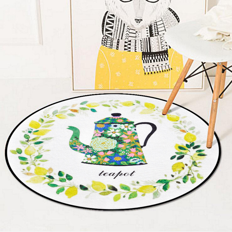 Chinese Floral Teapot Printed Circle Soft Carpet Bedroom Living Room Home Decor Round Kids Rug Thicken Non-Slip Design Floor Mat