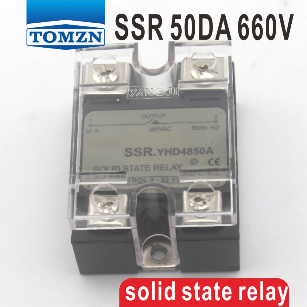 50DA SSR Control 3-32V DC output 48~660VAC High voltage single phase AC solid state relay