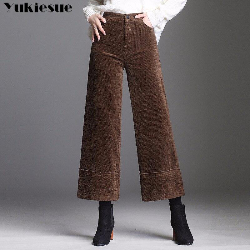 harajuku Corduroy Velvet   pants     capri   for women with high waist loose casual wide leg   pants   female trousers pantalon femme