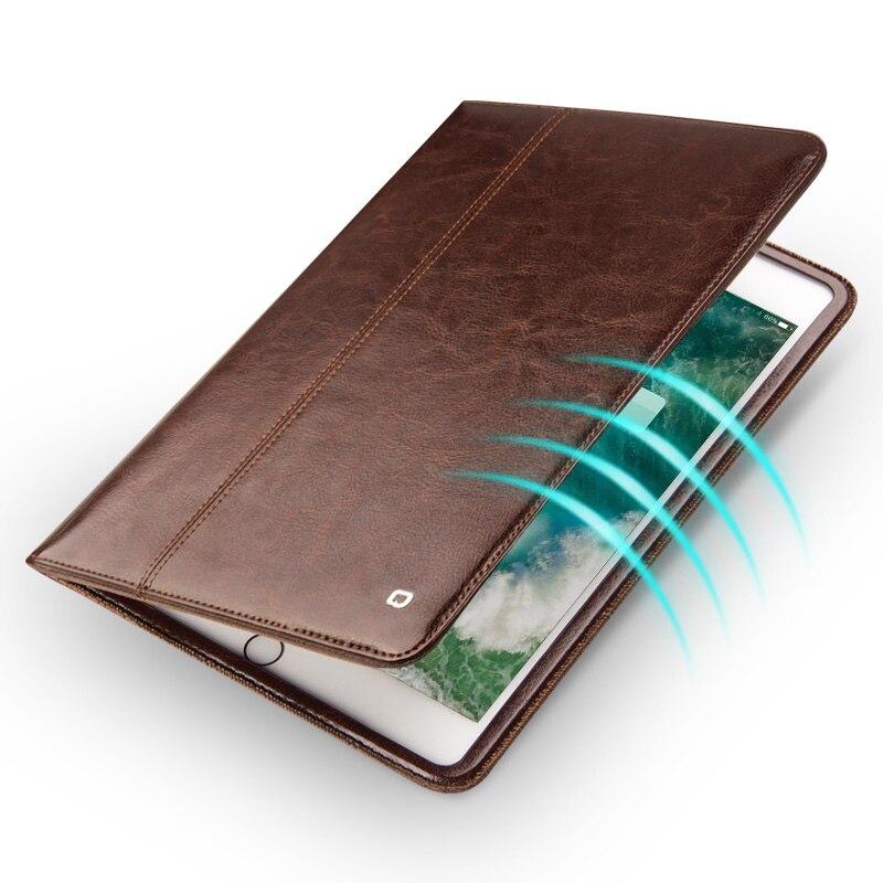 QIALINO ultra-mince en cuir véritable étui pour ipad Pro 10.5 pouces de luxe Flip mode motif Stents dormance fonction Stand Cov