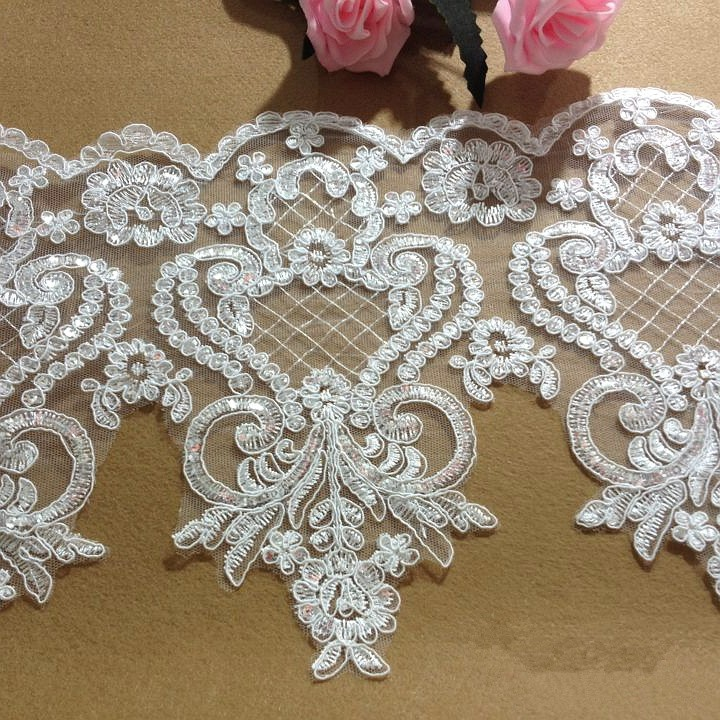 white paillette lace decoration sequin lace trim wedding dress fabric width 25cm 3meter in lace. Black Bedroom Furniture Sets. Home Design Ideas
