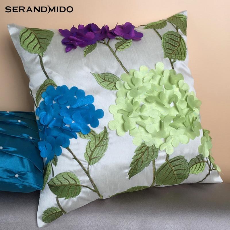 新しいarrvial牧歌的なスタイル花クッションカバー装飾シルク手作り高品質のため車とソファ枕カバーSMC1773T