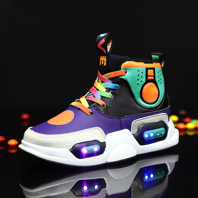 28-37 Size USB Charging Basket Led Children Shoes With Light Up Kids Casual Boys&Girls Sneakers Glowing Shoes Genuine Leather