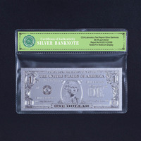 Fake Note of American 1$ Dollar Banknote Bill .999 Silver Collection Gift Free COA Frame