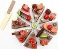 Frete grátis! Brinquedos Do Bebê Bolo de Aniversário Bolo de Chocolate De Madeira Jogo De Simulação De Alimentos Pretend Play Brinquedos Clássicos Brinquedos Do Bebê Presente
