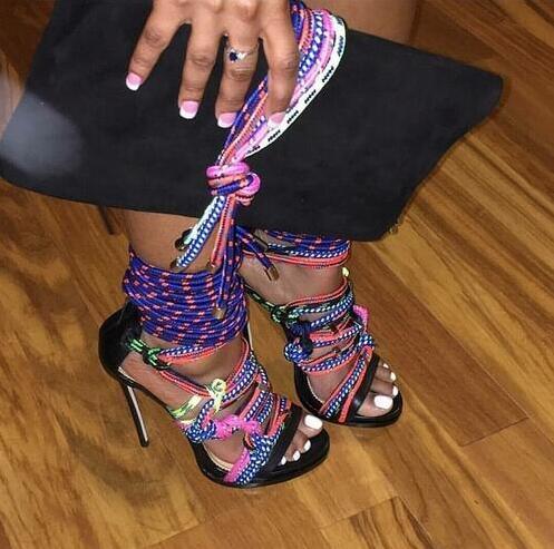 Open Toe Multicolor Rope Gladiator Stiletto Sandal Rome Design High Heel Lace Up Sandals Shoes Platform Party Dress Shoes
