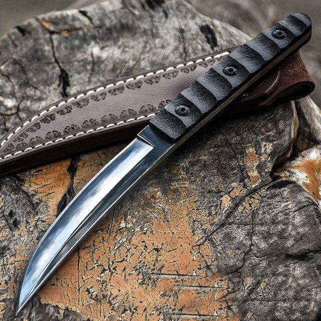 سكين عسكري تكتيكي ثابت لصيد البلدي في الخارج سكاكين نجاة على قيد الحياة سكين صيد برية للتخييم سكاكين + غمد جلدي