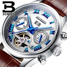 Швейцария БИНГЕР часы мужчины luxury brand Tourbillon сапфир световой несколько функций Механические Наручные Часы B8602-3