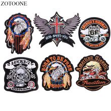 ZOTOONE Iron on Punk Patches for Clothes Jacket Applique Embroidery Motorcycle Eagle Patch Stickers Sew Fabric Badge DIY