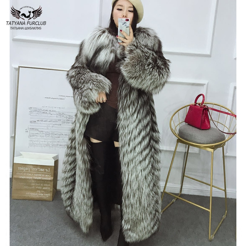 Tatyana Furclub Real Fur Coat Winter For Women Natural Sliver Fox Fur Coat O-neck Coat Fur Jacket Long Outwear Coats Luxury Top