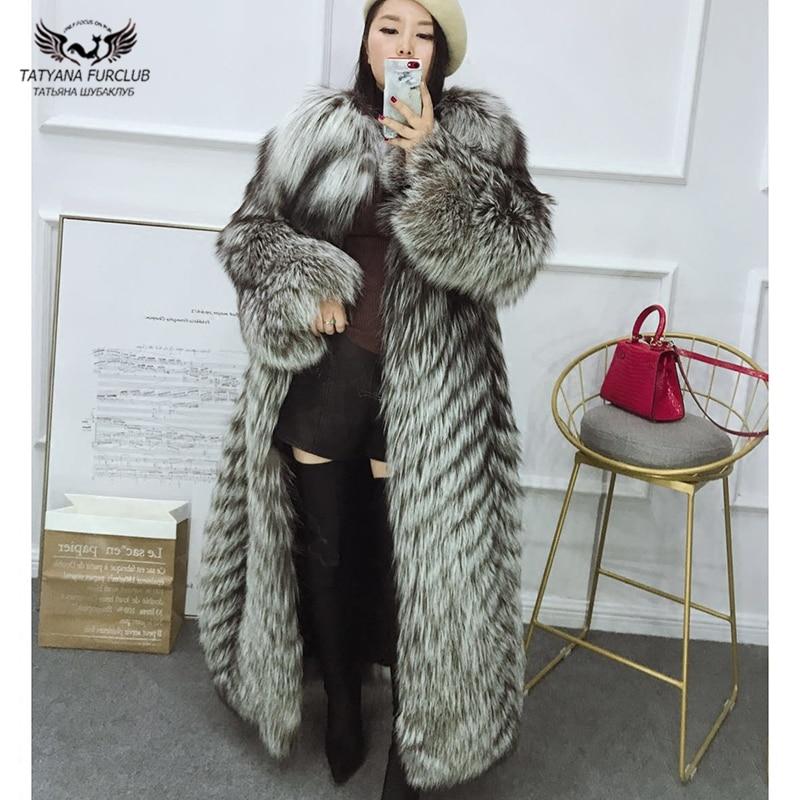Tatyana Furclub Real Fur Coat Winter For Women Natural Sliver Fox Fur Coat O-neck Coat Fur Jacket Long Outwear Coats Luxury Top