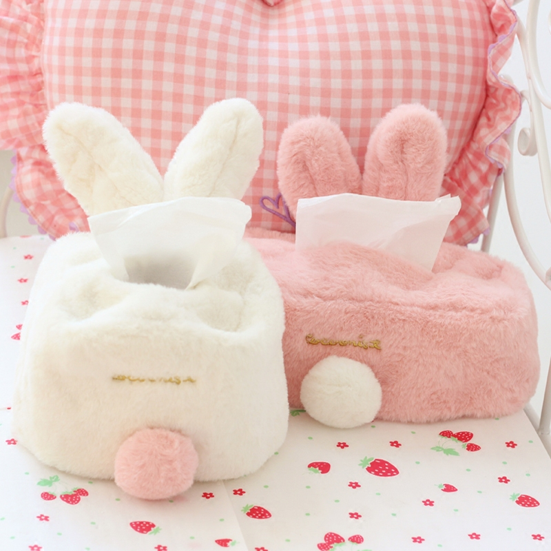 Candice guo! creative plush toy cute sweet rabbit ears fluffy tissue box cover home paper towel case birthday Christmas gift 1pc