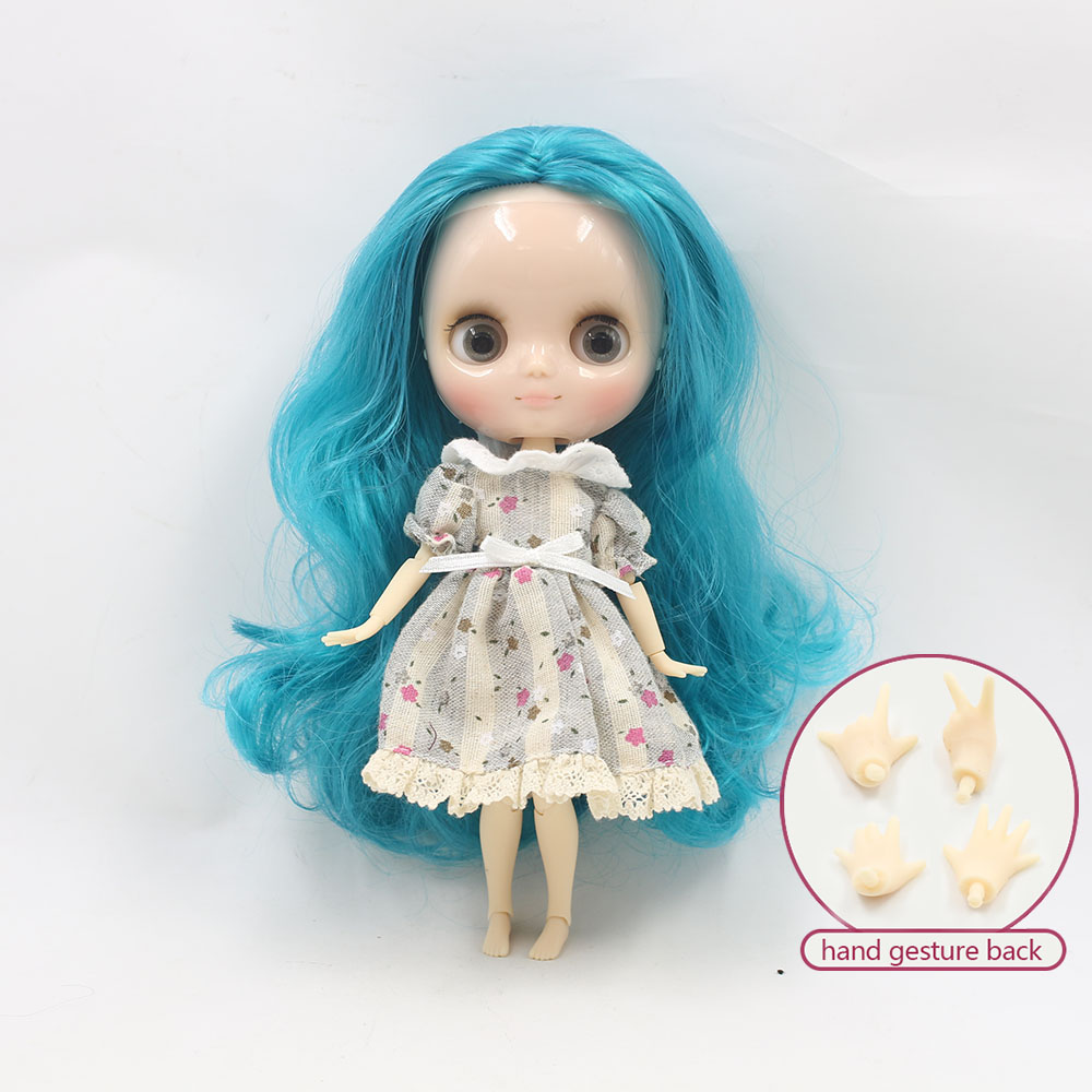 NO.210BL4302 Nude middie blyth joint doll Blue hair Transparent face suitable DIY gift for girl like the icy doll middle blyth